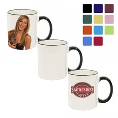 11 oz Ceramic Mug – Rim & Handle Color