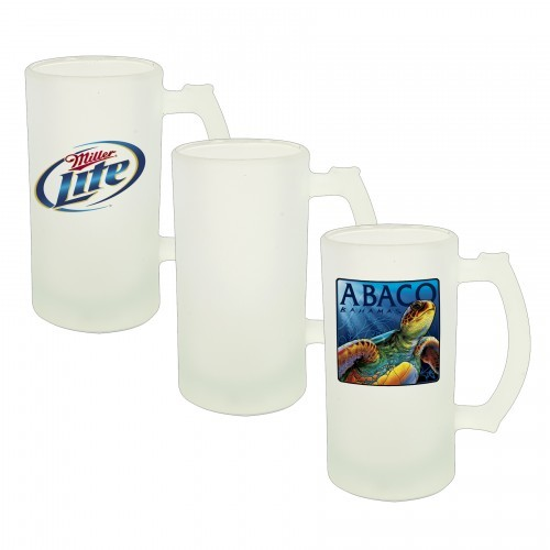 16 oz. Glass Beer Stein Frosted Exterior